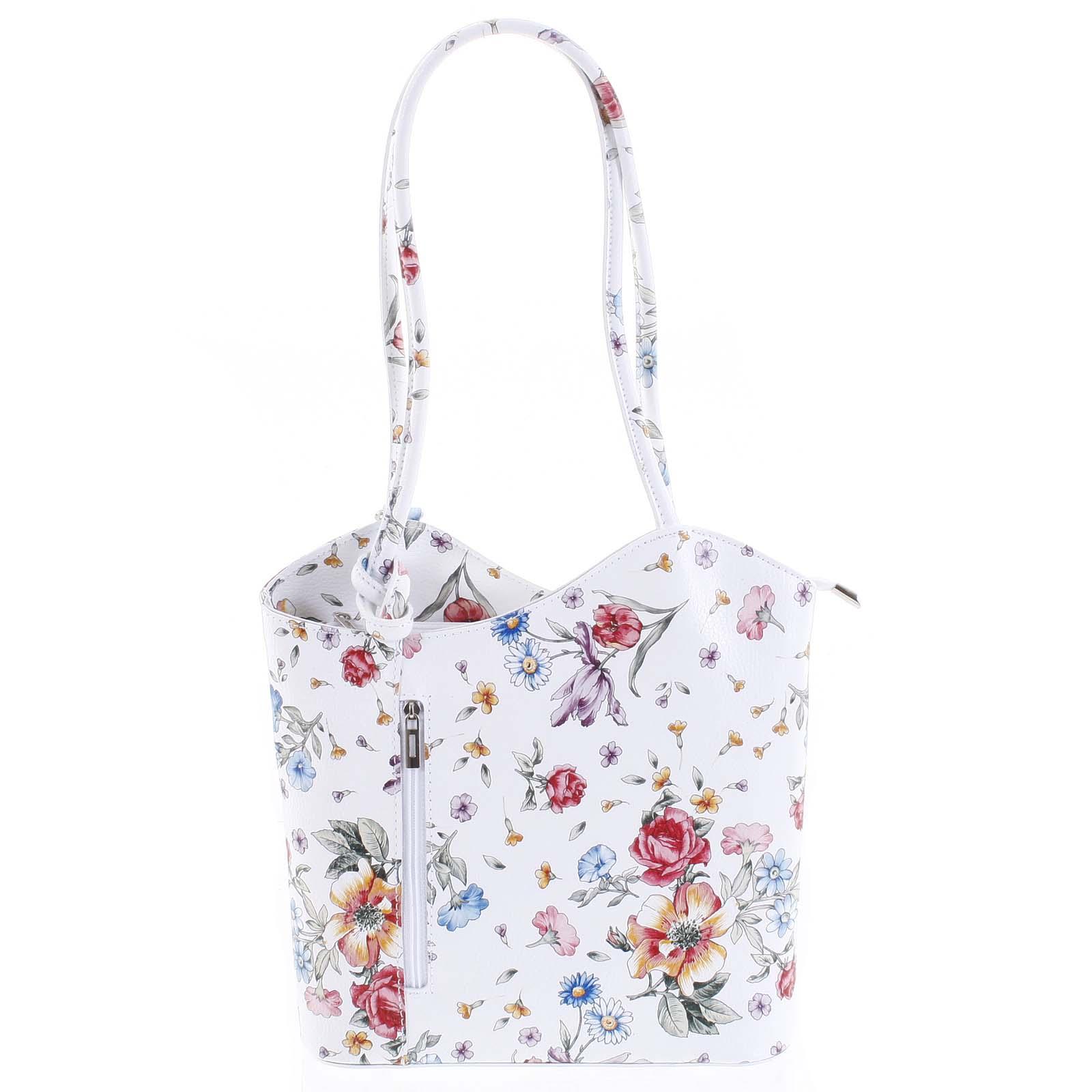 Dámska kožená kabelka-batôžtek kvetinová - ItalY Larry
