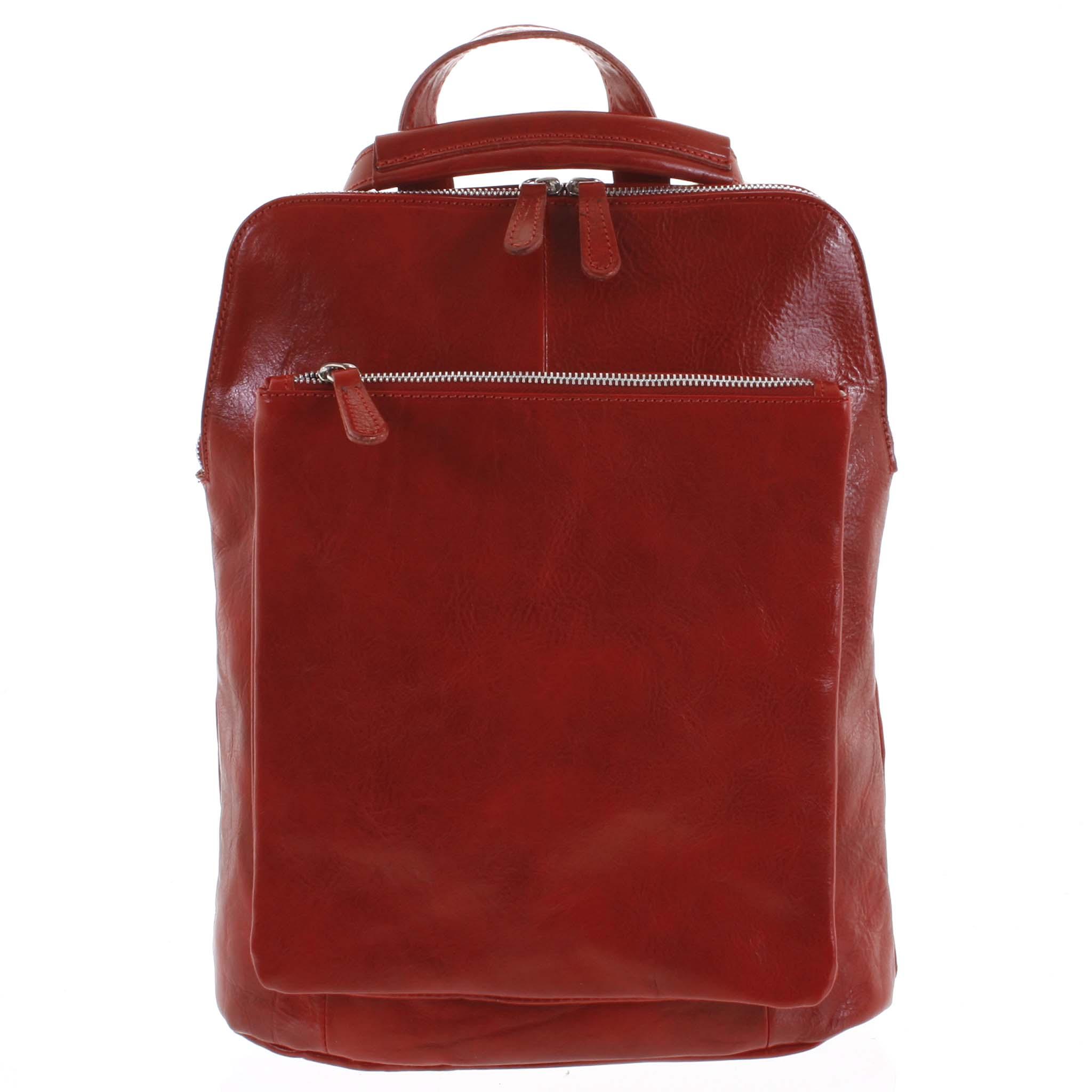 Dámsky kožený batoh kabelka červený - ItalY Englidis