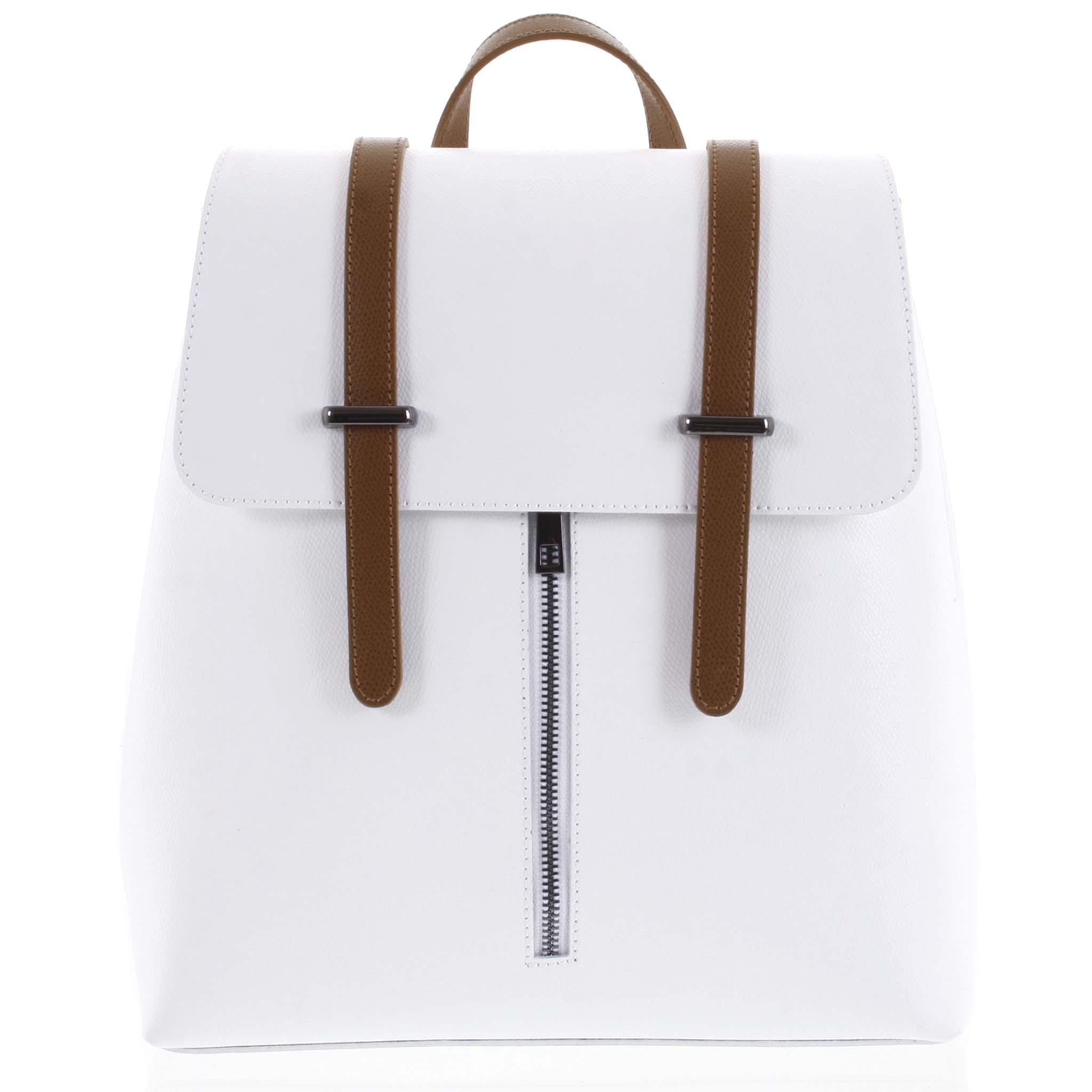 Dámsky kožený batoh bielo hnedý - ItalY Waterfall