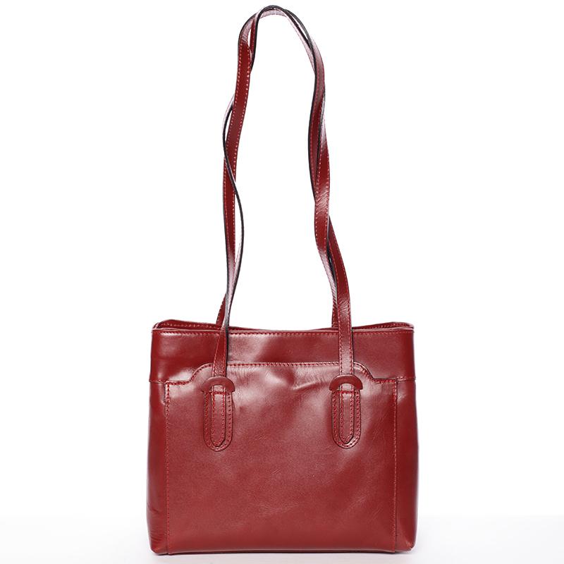 Červená kožená kabelka cez plece - ItalY Yura