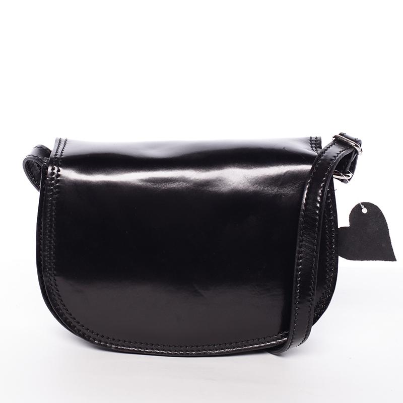 Menšia čierna lakovaná crossbody kožená kabelka - ItalY Zoya