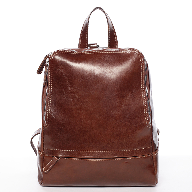 Dámsky kožený batoh hnedý - ItalY Zeus