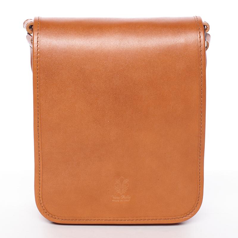 Luxusná svetlohnedá kožená taška cez plece ItalY Harper