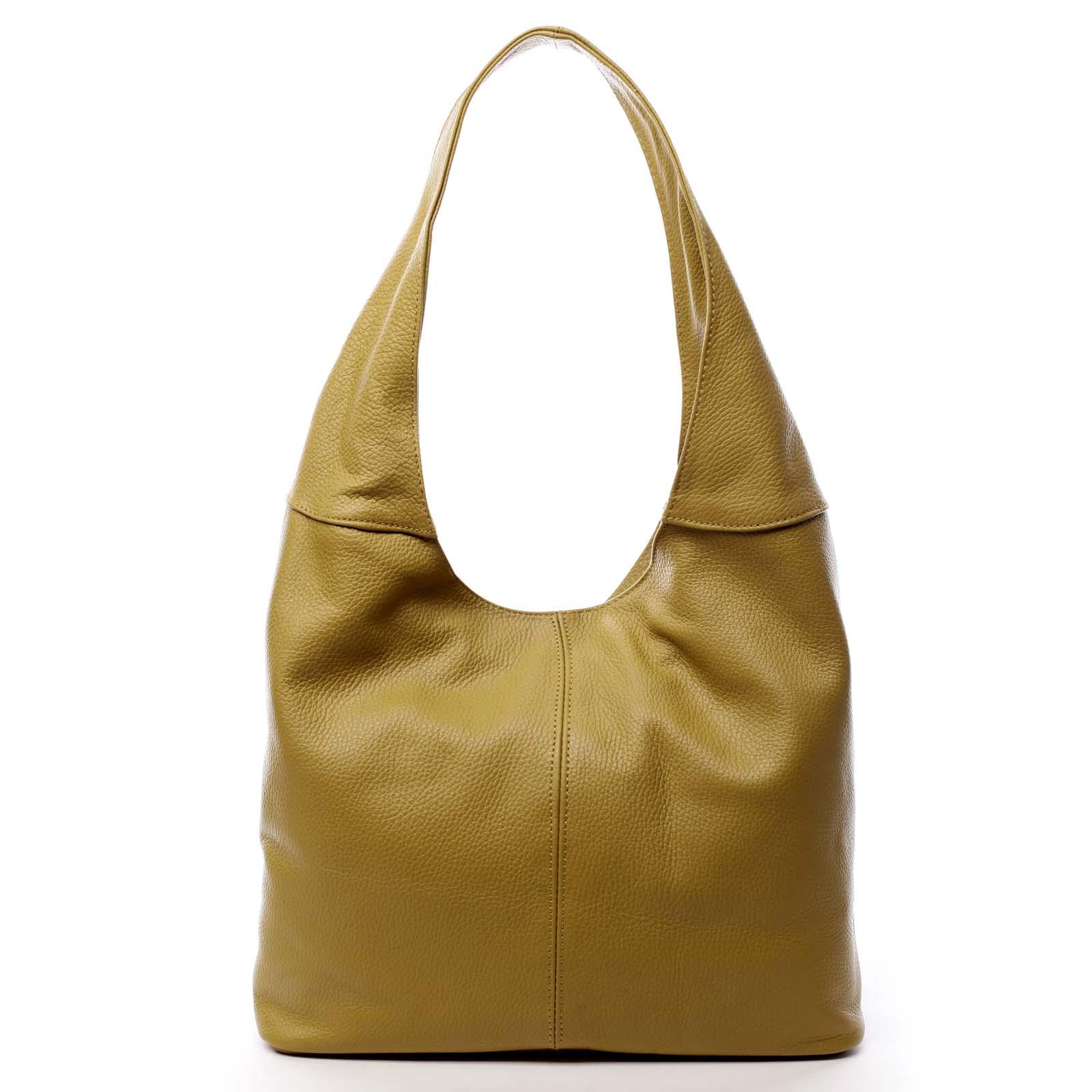 Dámska kožená kabelka cez plece žltá - ItalY SkyFull