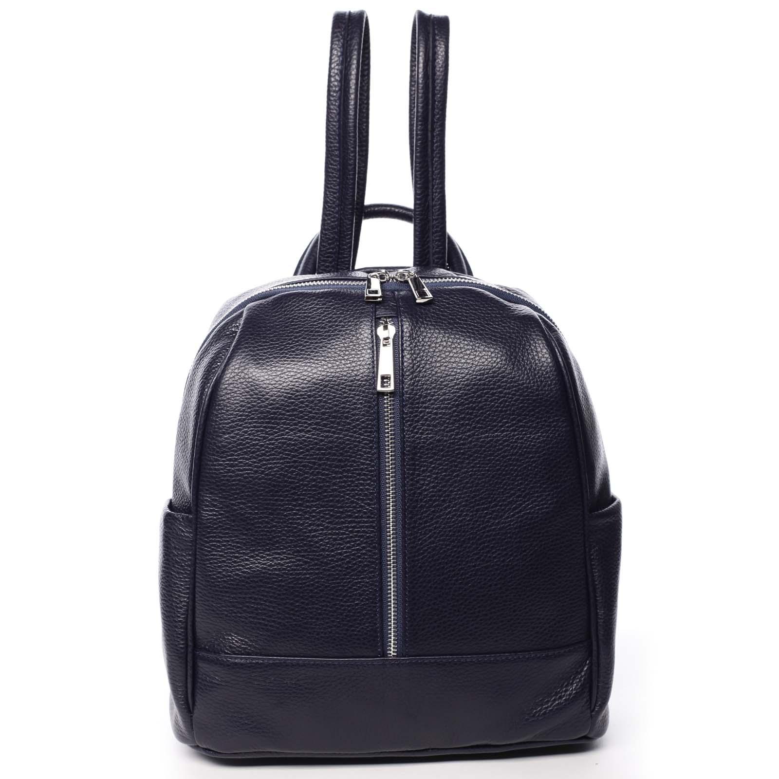 Dámsky kožený batoh tmavomodrý - ItalY Lissetta