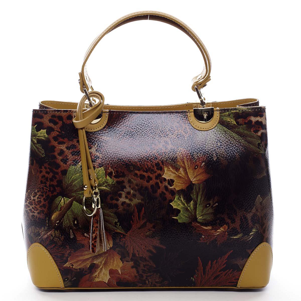 Originálna dámska kožená kabelka jesenná žltá - ItalY Mattie