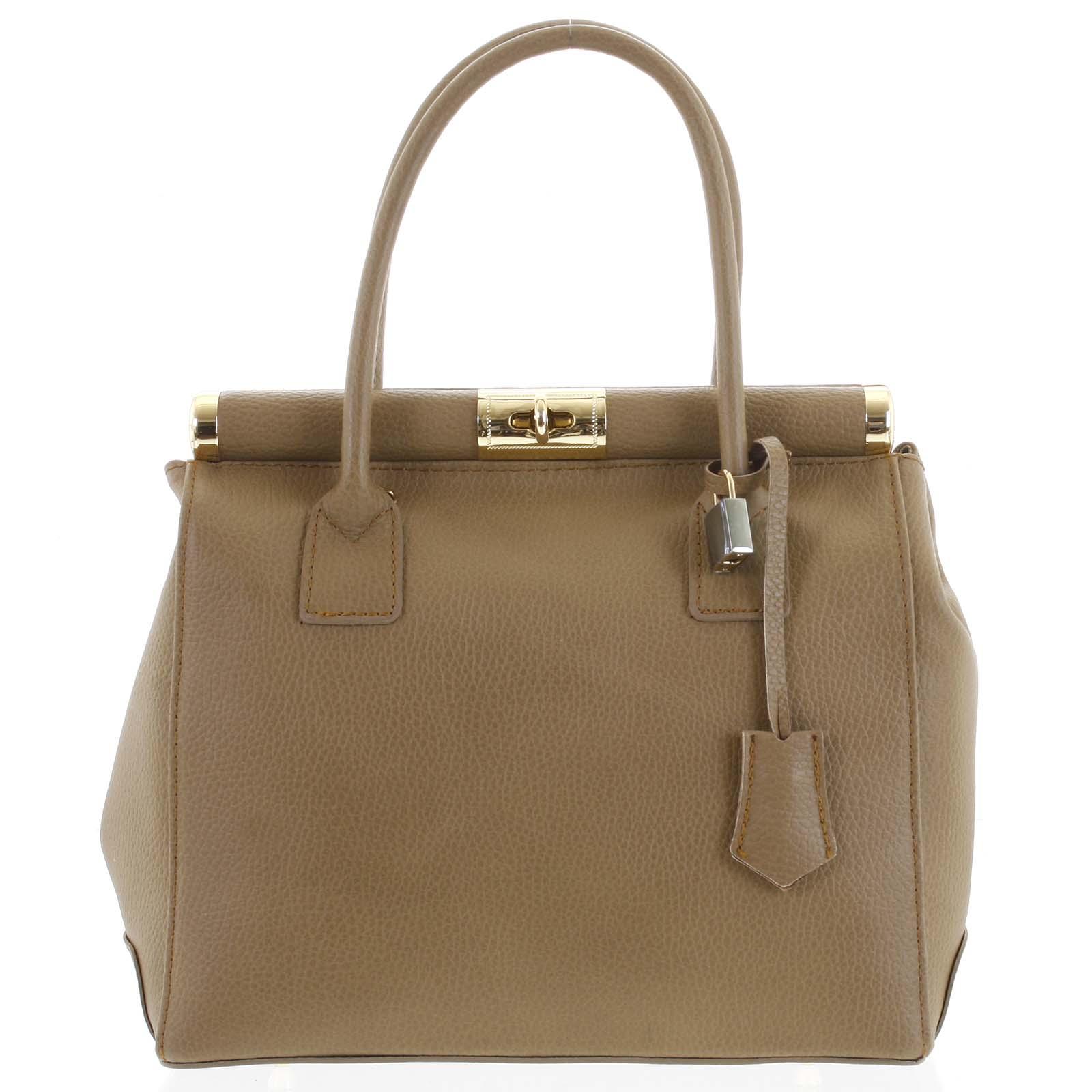 Luxusná dámska kožená kabelka do ruky béžová - ItalY Hyla