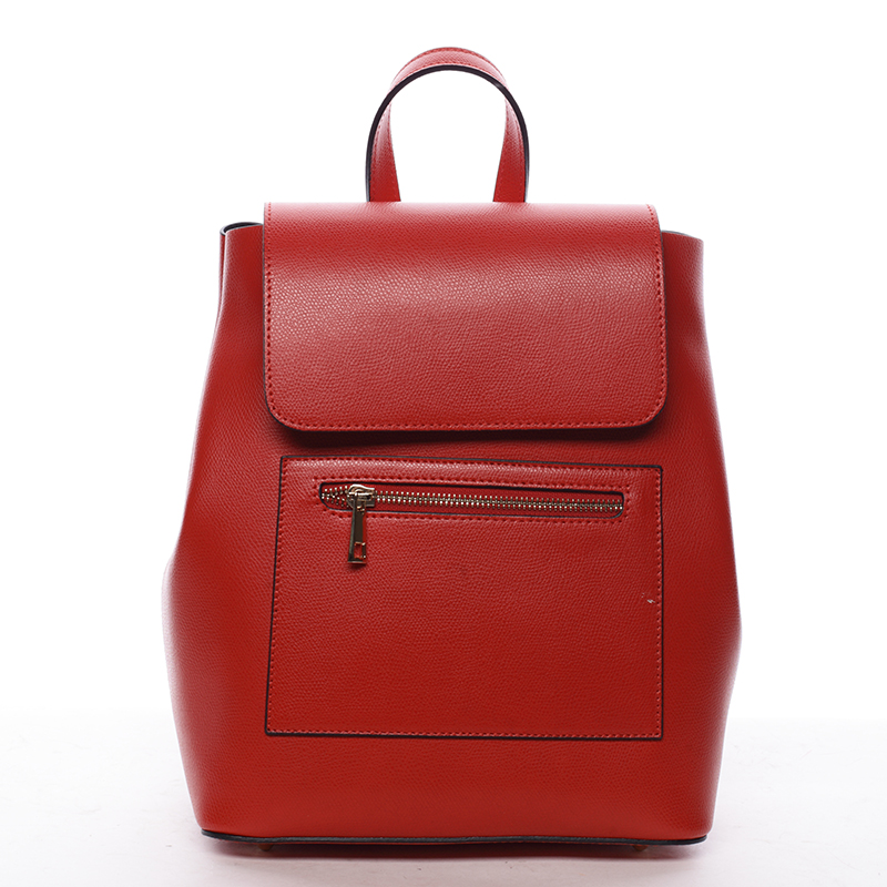 Dámsky mestský batoh kožený červený - ItalY Bernadea