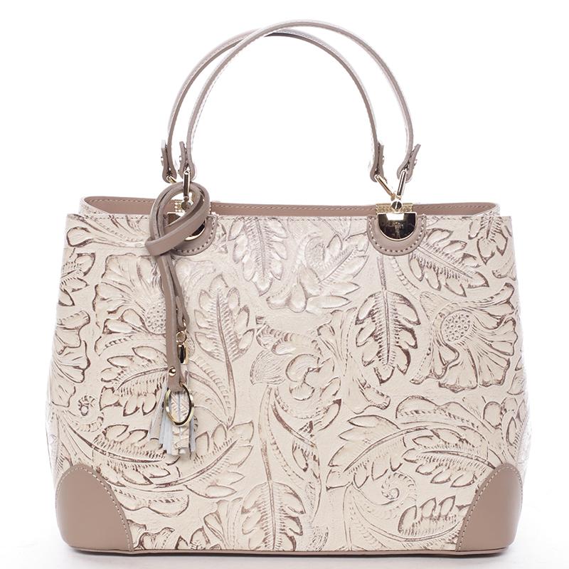 Originálna dámska kožená kabelka taupe - ItalY Mattie
