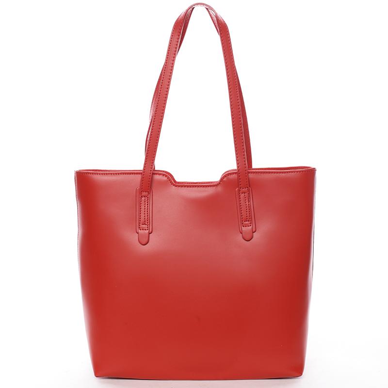 Elegantná dámska kožená kabelka červená - ItalY Aimee