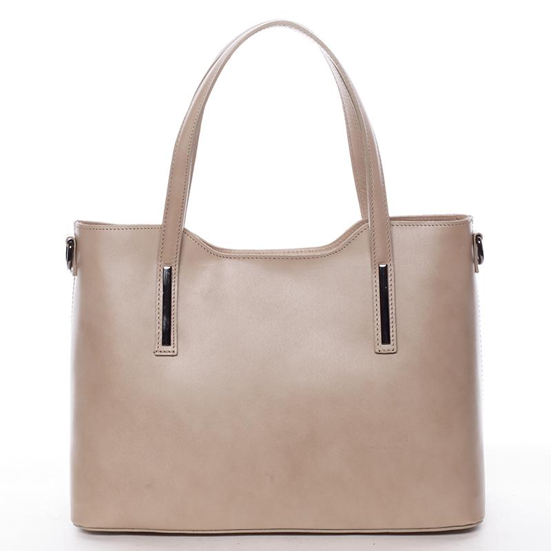 Menšie kožená kabelka tmavo béžová - ItalY Alex