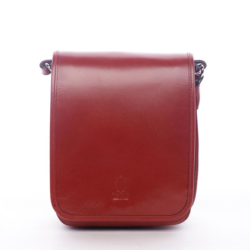 Luxusná červená kožená taška cez rameno ItalY Harper