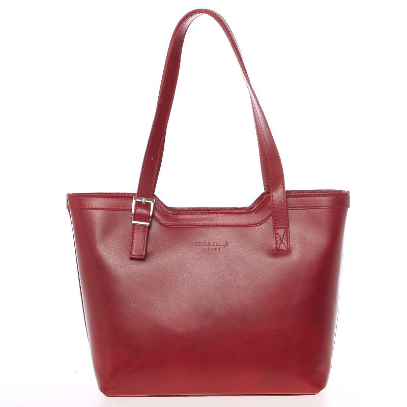 Červená elegantná kožená kabelka ItalY Melisa