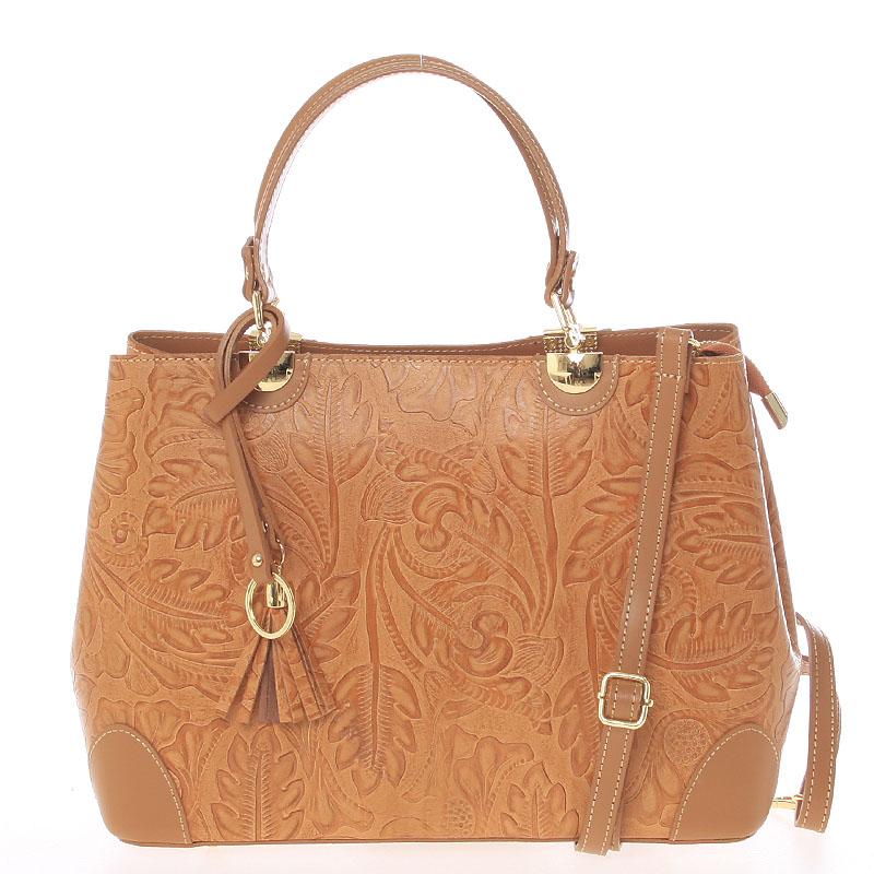 Originálna dámska kožená kabelka svetlohnedá - Italo Mattie
