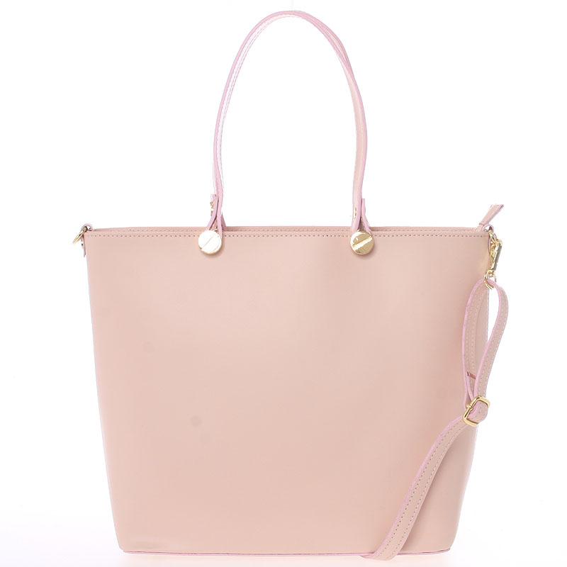 Dámska kožená kabelka svetloružová - Delami Valentina