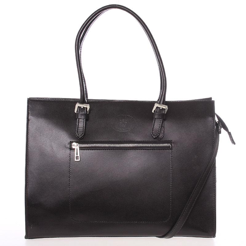 Moderná elegantná dámska kožená kabelka čierna - ItalY Madelia