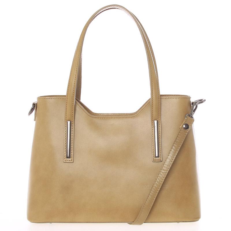 Stredná kožená kabelka taupe - ItalY Chevelle