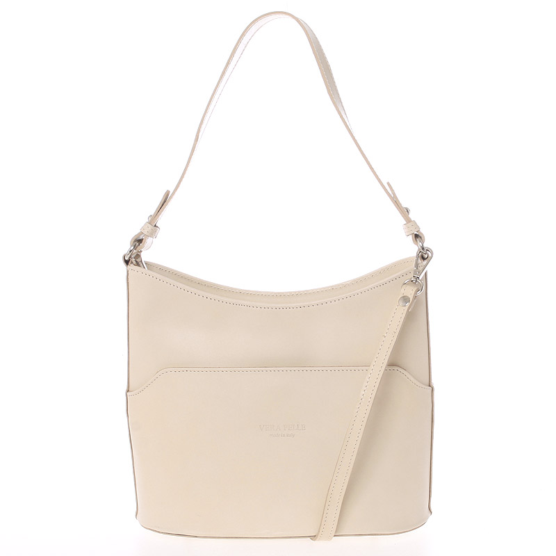 Béžová kožená kabelka cez plece ItalY Lydia