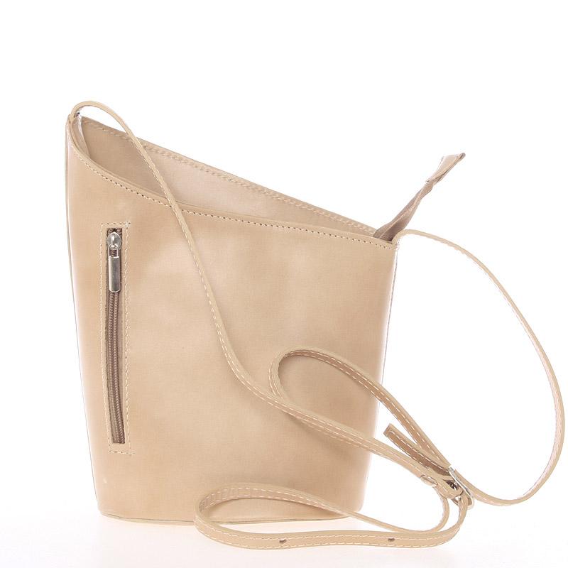 Originálna svetlá taupe kožená crossbody kabelka - Italy Meida