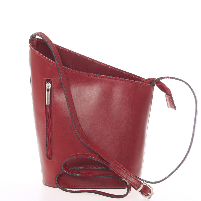 Originálne červená kožená crossbody kabelka - ItalY Meida