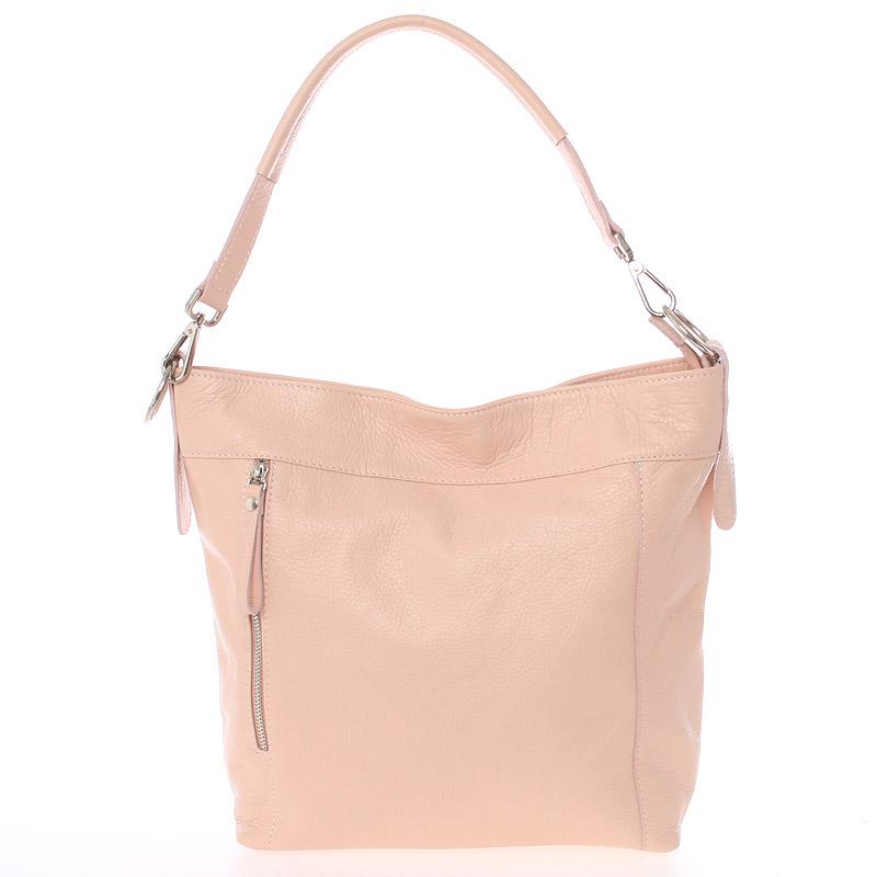 Módna dámska kožená kabelka svetloružová - ItalY Margareta