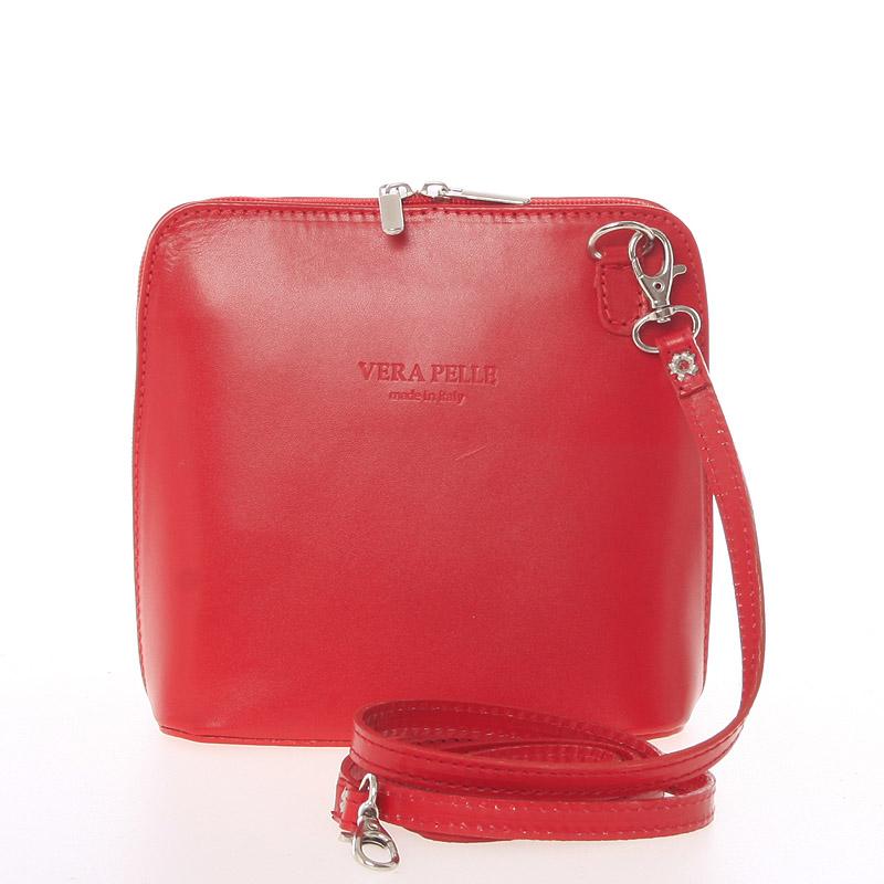 Dámska kožená crossbody kabelka svetločervená - ItalY Hannah