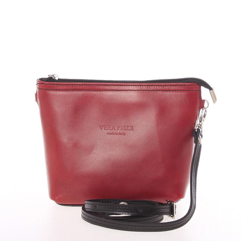 Dámska kožená crossbody kabelka červeno čierna - ItalY Garnet