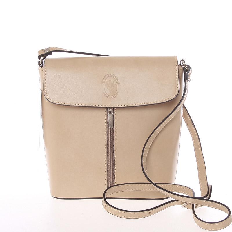 Dámska kožená crossbody kabelka svetlá taupe - ItalY Marketa