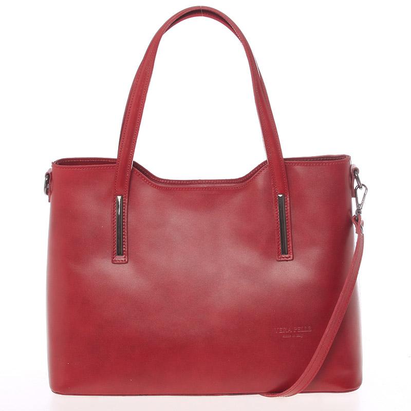 Väčšia kožená kabelka červená - ItalY Sandy
