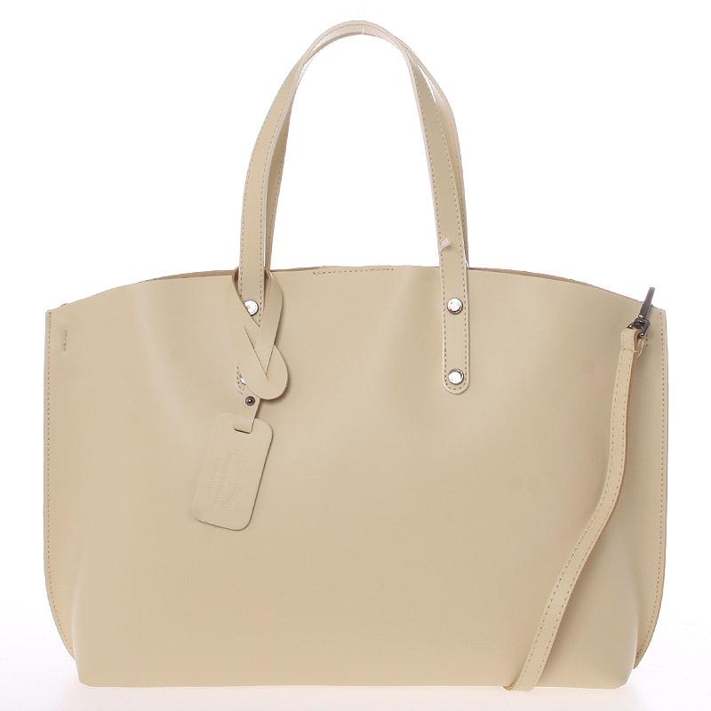 Dámska kožená kabelka béžová - ItalY Jordana