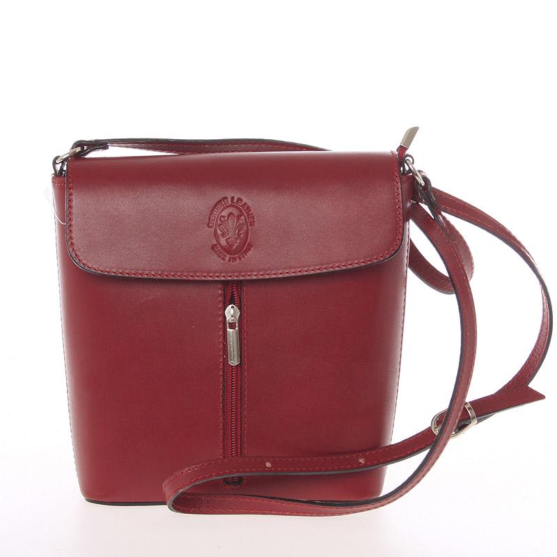 Dámska kožená crossbody kabelka červená  - ItalY Marketa