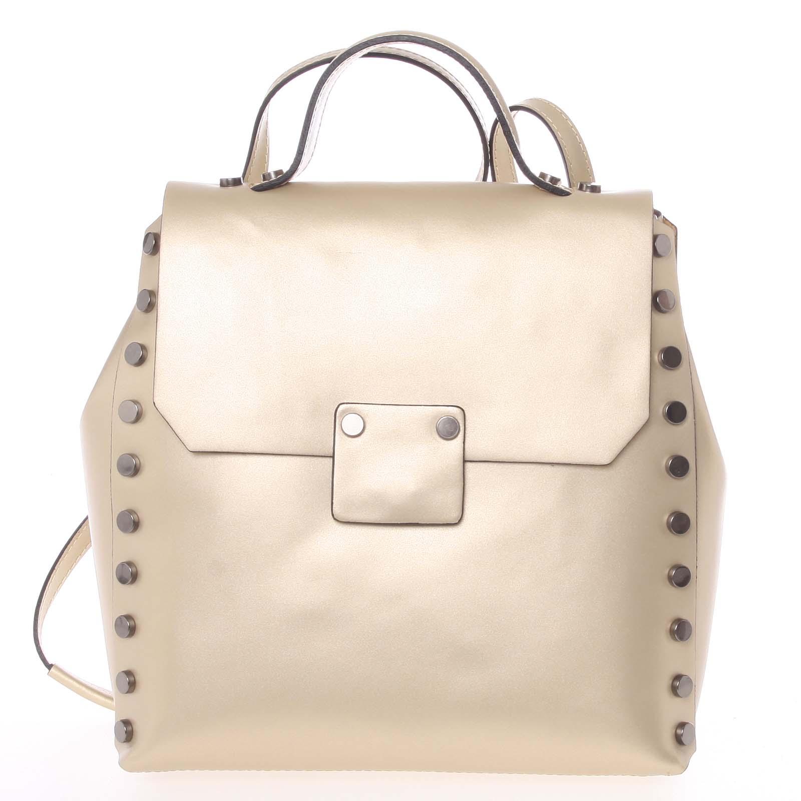 Unikátny zlatý dámsky kožený batoh / kabelka - ItalY Nicoletta