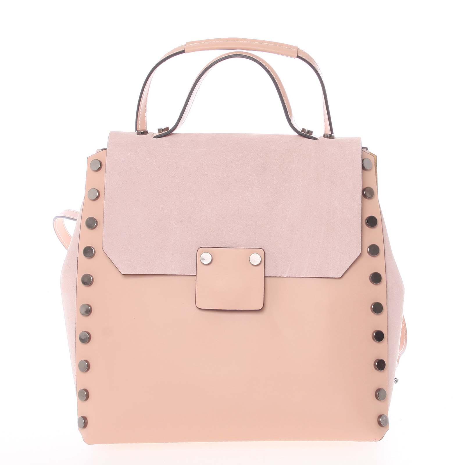 Unikátny svetloružový dámsky kožený batoh / kabelka - ItalY Nicoletta