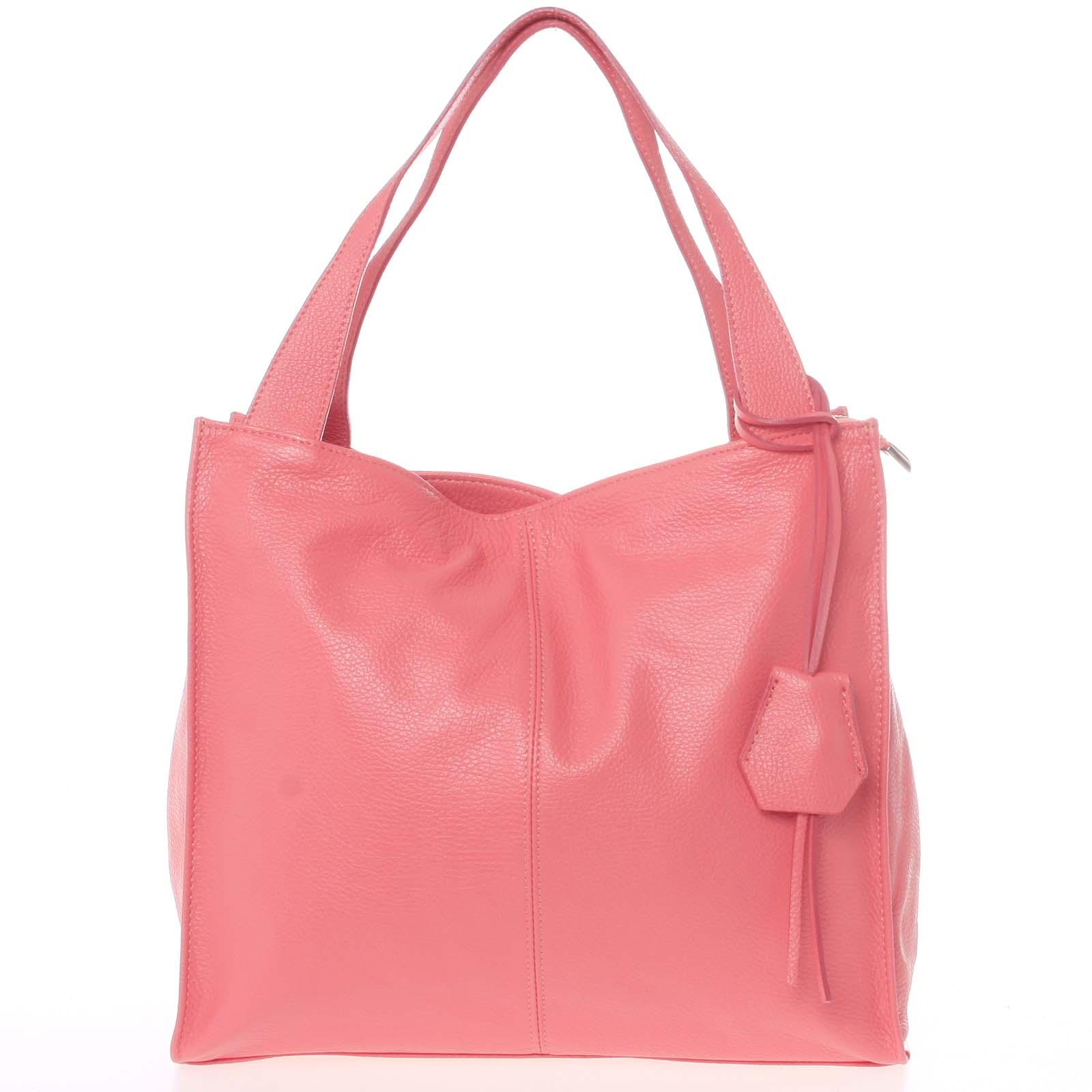 Elegantná ružová kožená kabelka cez rameno - ItalY Nyse
