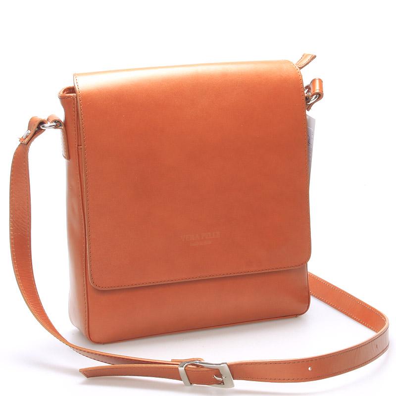 Pánska luxusná kožená taška cez rameno svetlo hnedá - ItalY Crosby