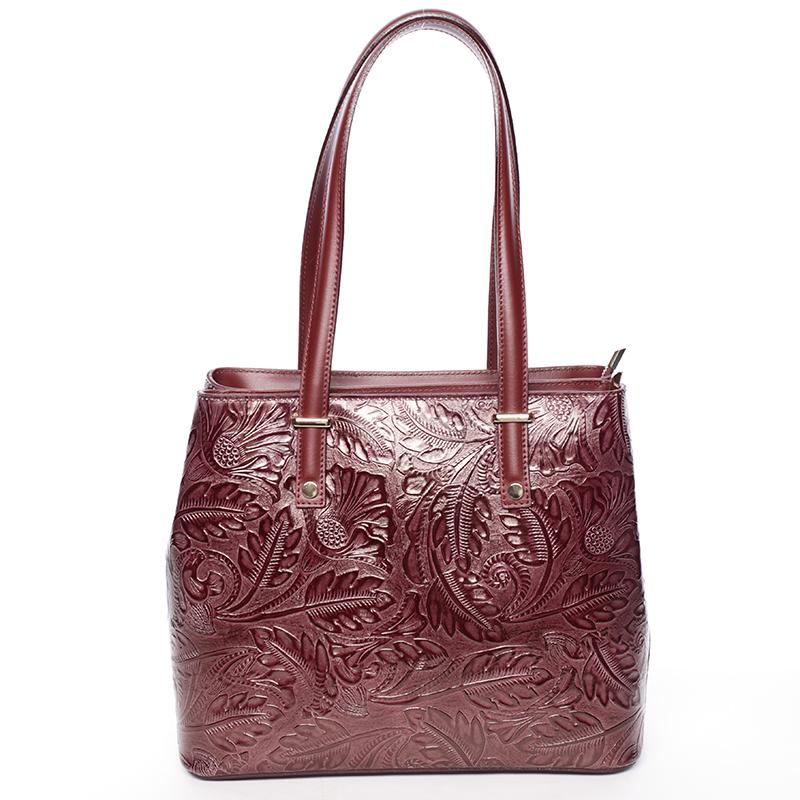 Exkluzívna dámska kožená kabelka vínová - ItalY Logistilla