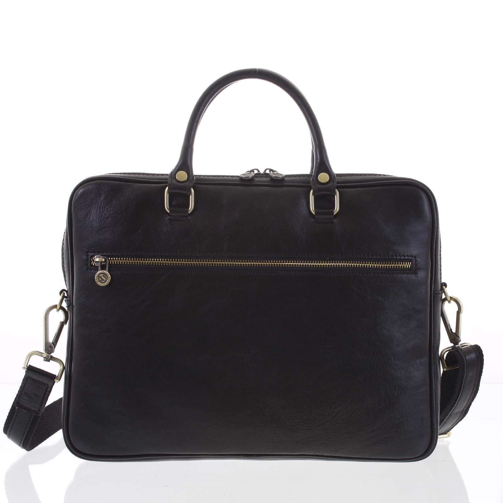 Kožená business taška čierna - ItalY Claudio