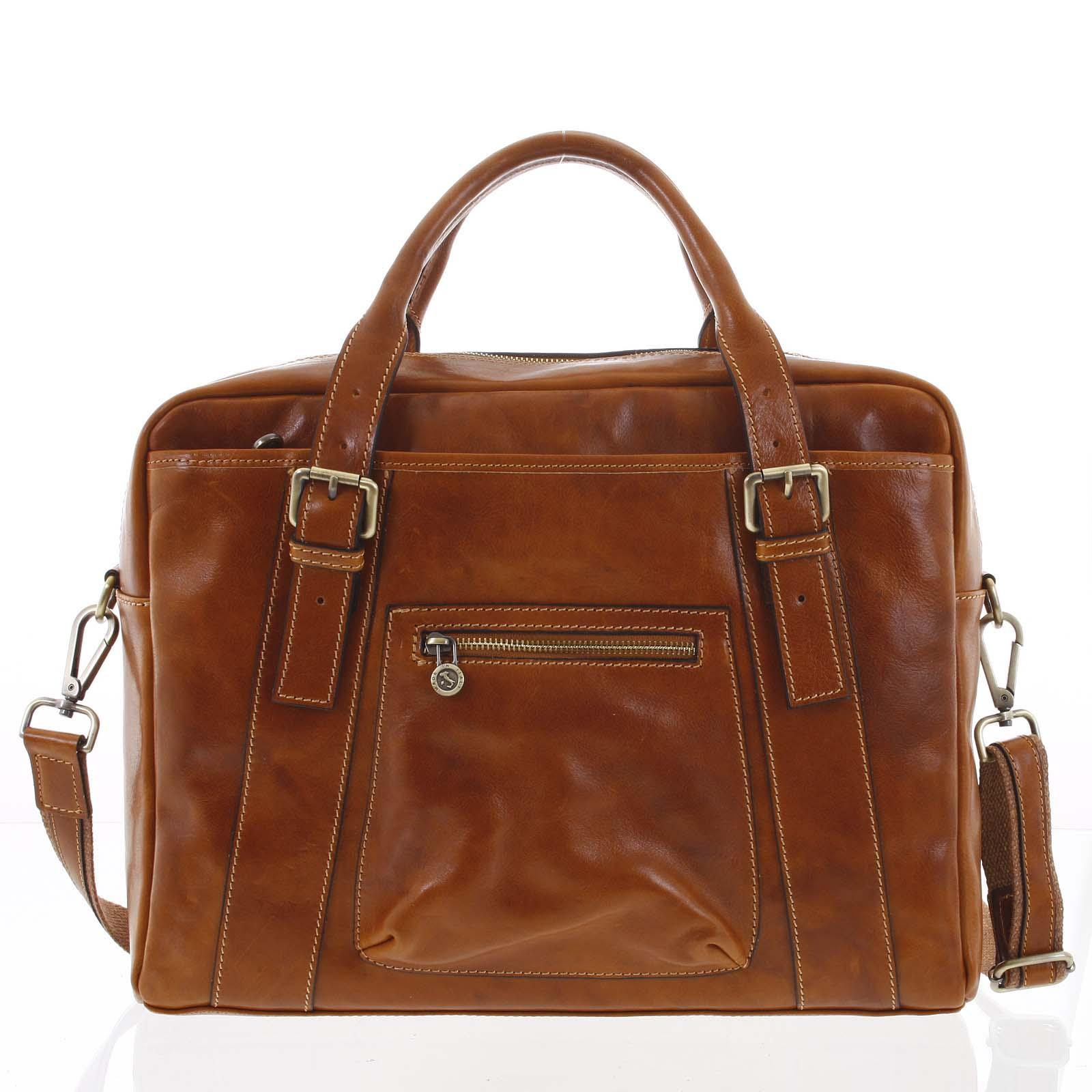 Kožená väčšia business taška koňaková - ItalY Fabio