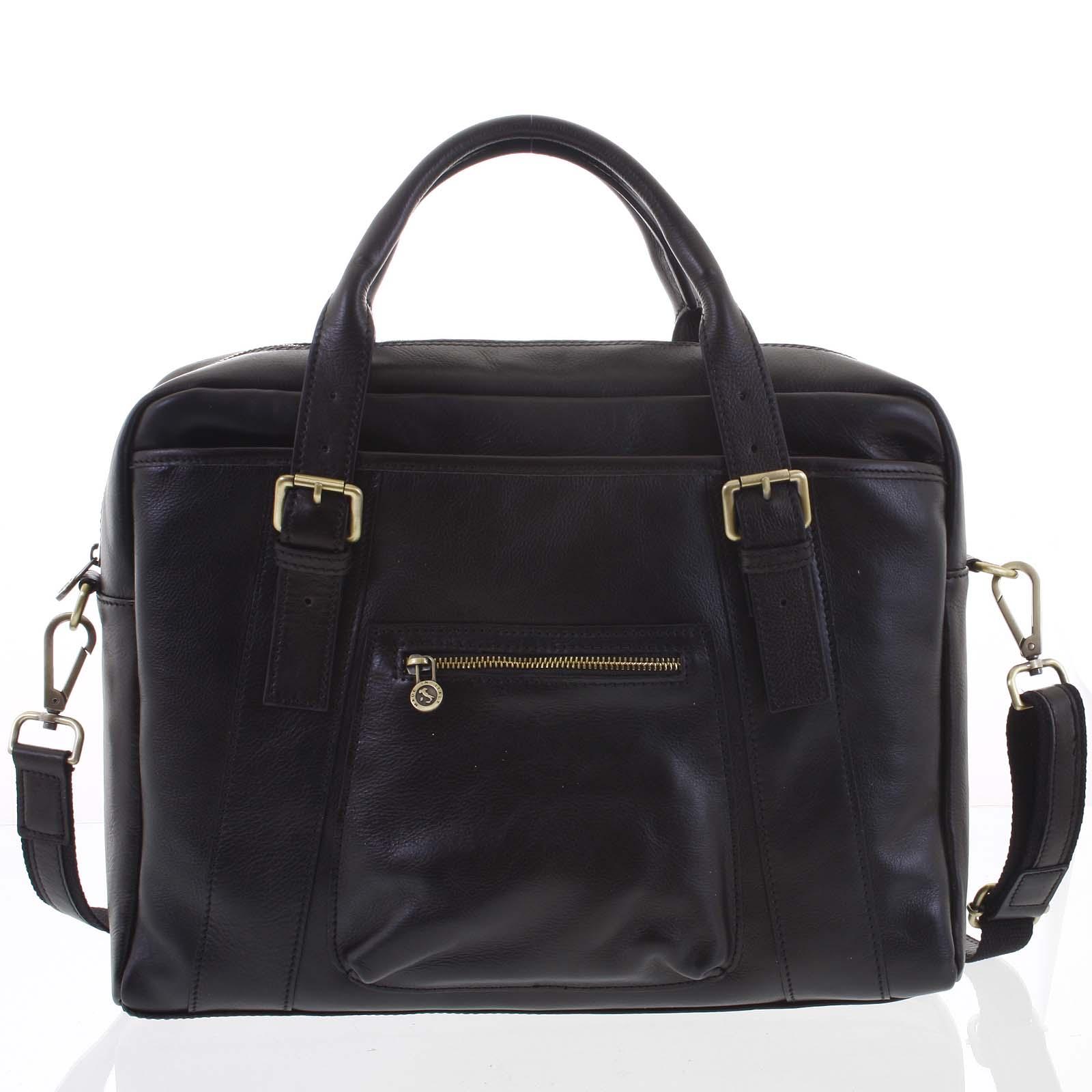 Kožená väčšia business taška čierna - ItalY Fabio