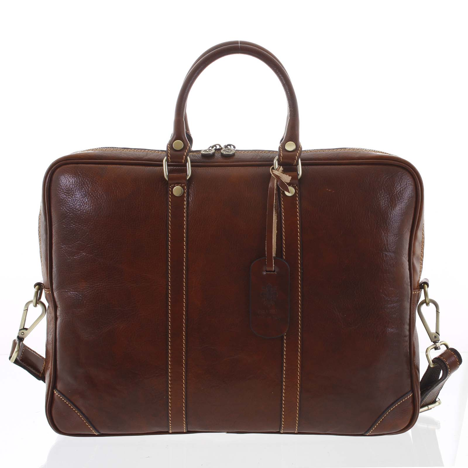 Kožená business taška hnedá - ItalY Paolo