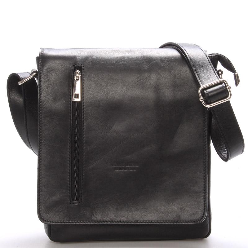 Módna väčšia čierna kožená kabelka cez rameno - ItalY Quenton