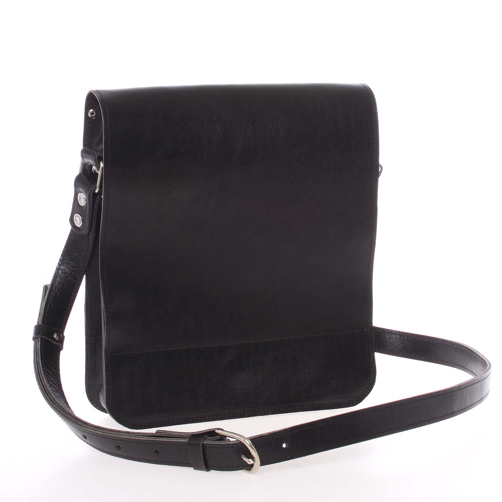Čierna luxusná kožená taška cez plece KABEA Luxor