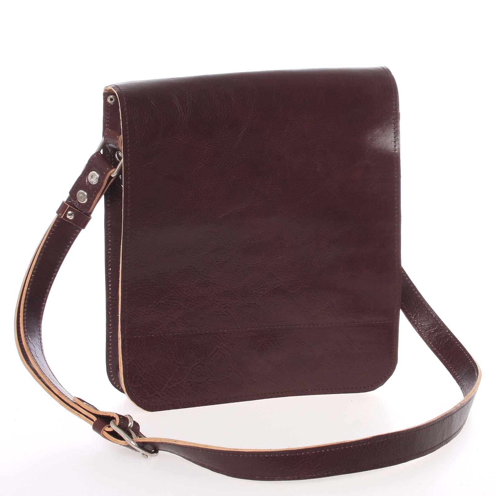 Tmavohnedá luxusná kožená taška cez plece KABEA Luxor