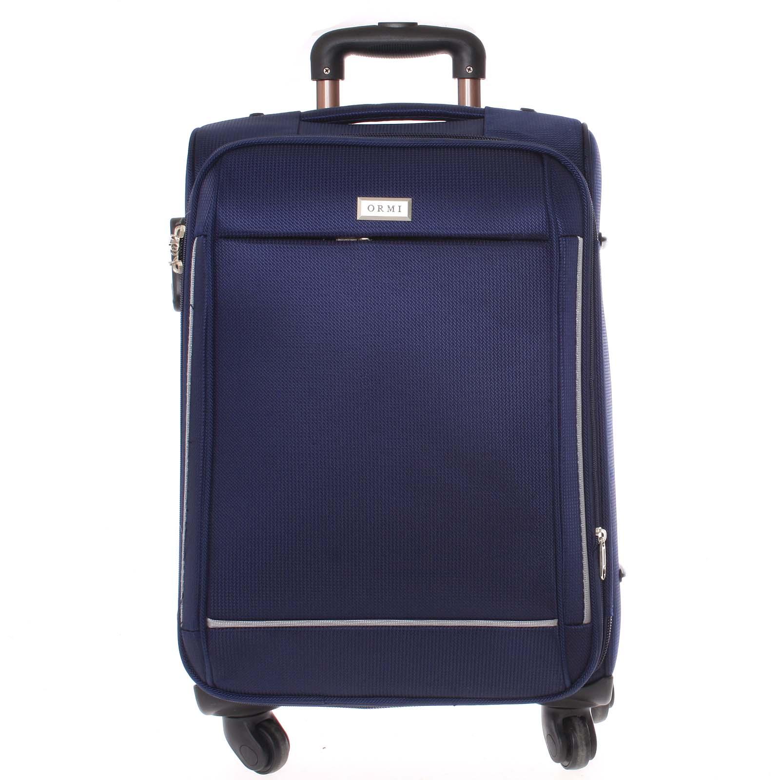Elegantný modrý látkový kufor - Ormi Sleek L