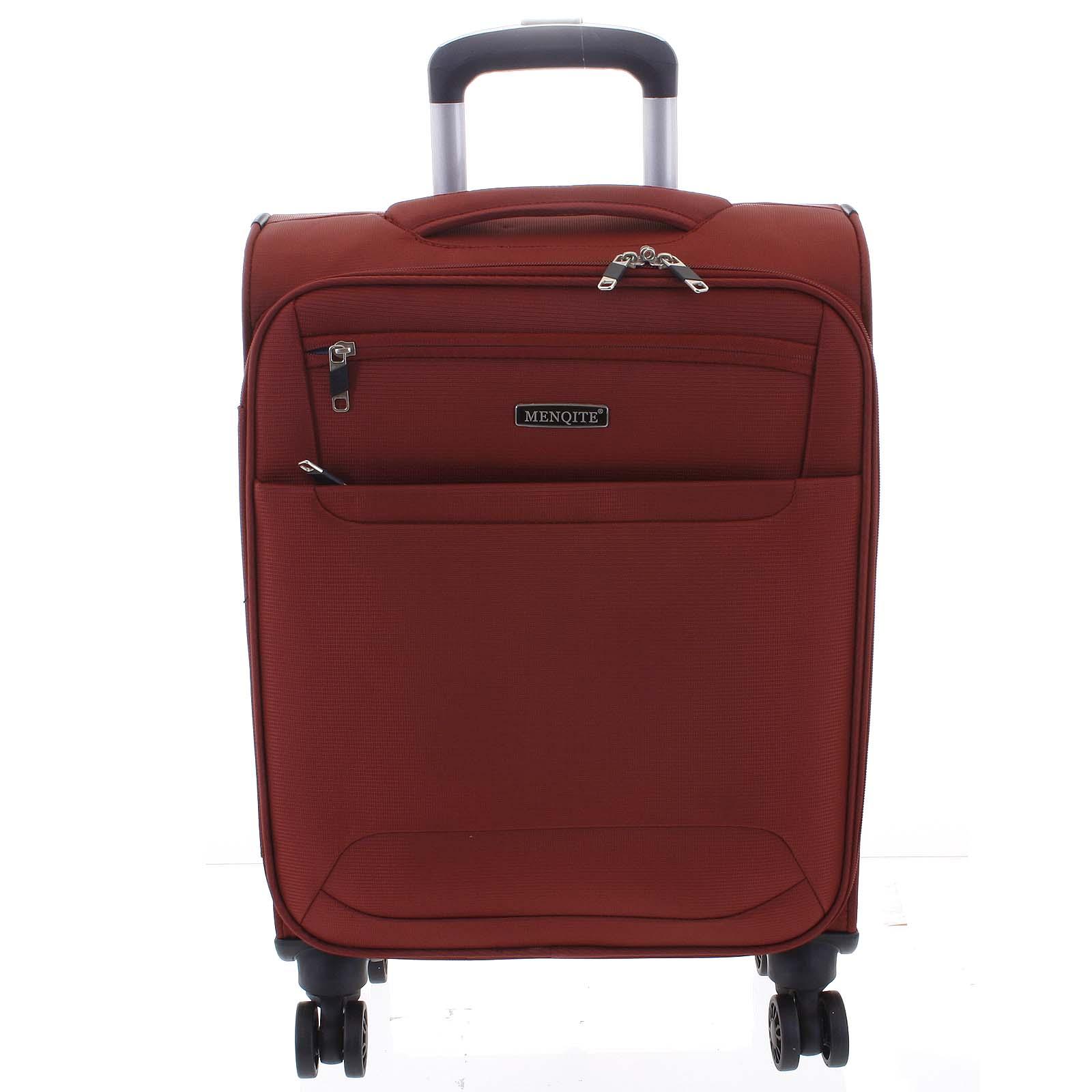 Nadčasový ľahký látkový cestovný kufor červený - Menqite Timeless M