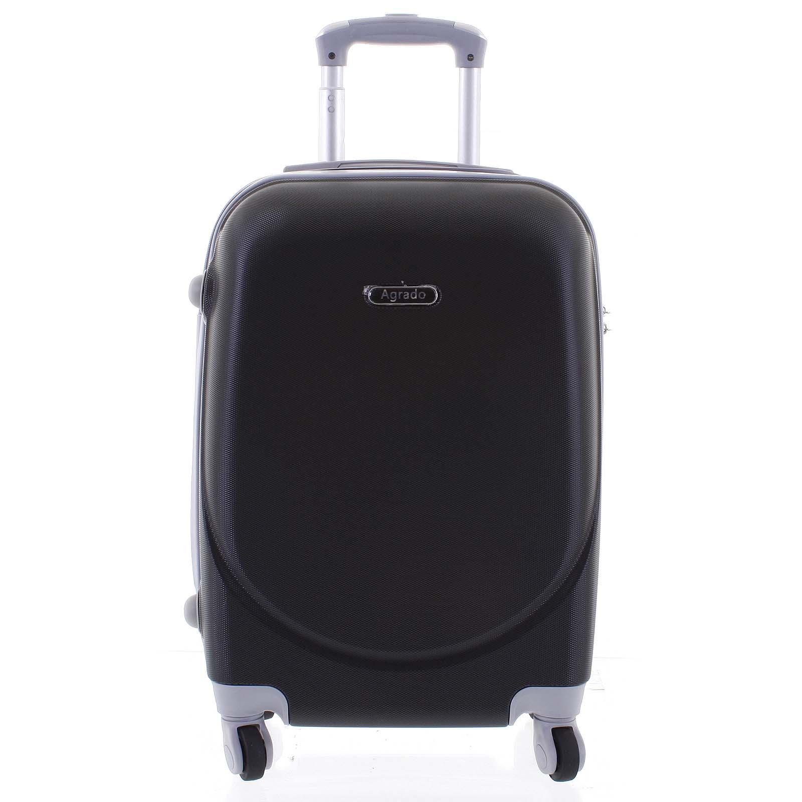 Kvalitný a elegantný pevný čierny cestovný kufor - Agrado Peter M