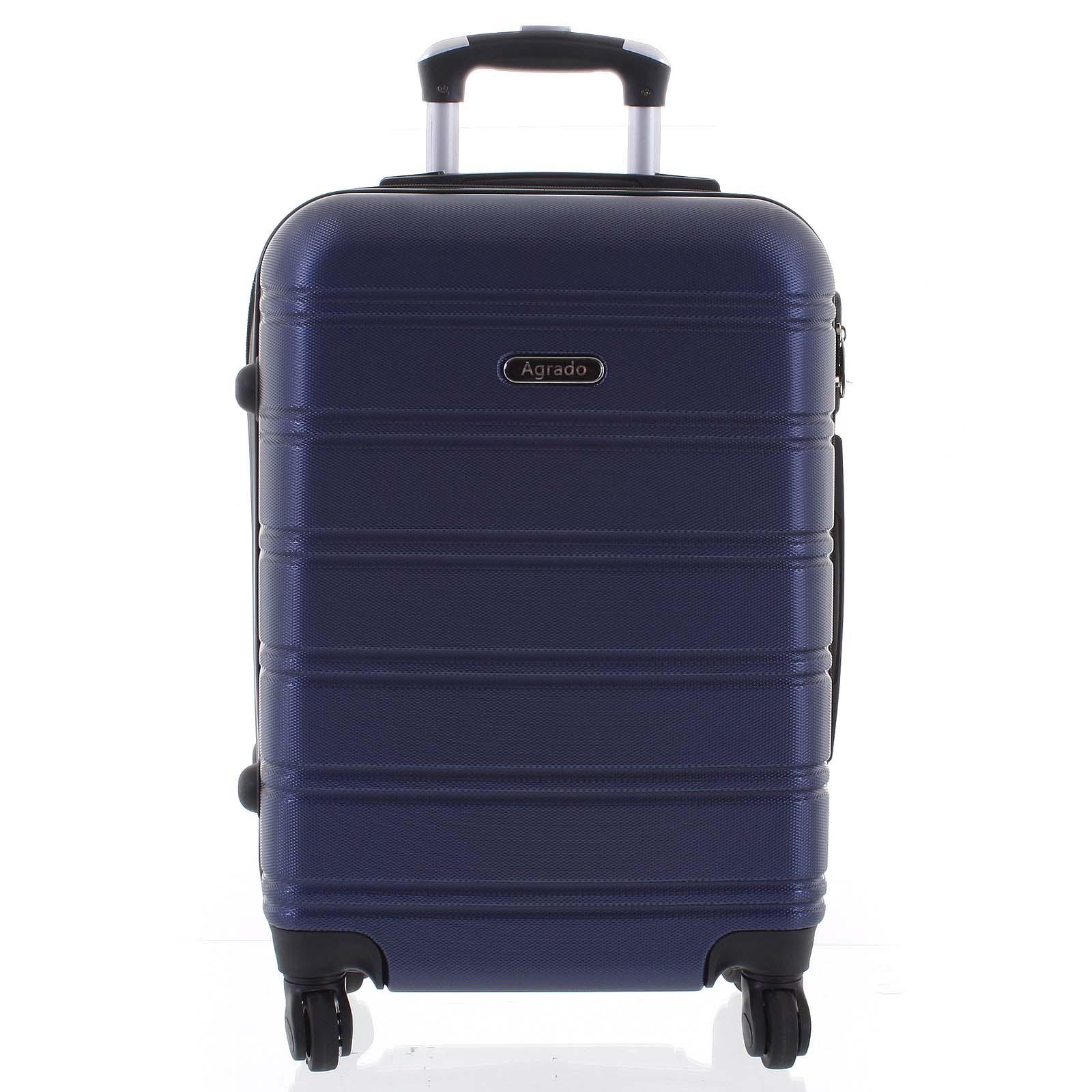 Kvalitný elegantný a pevný tmavomodrý cestovný kufor - Agrado Michael S