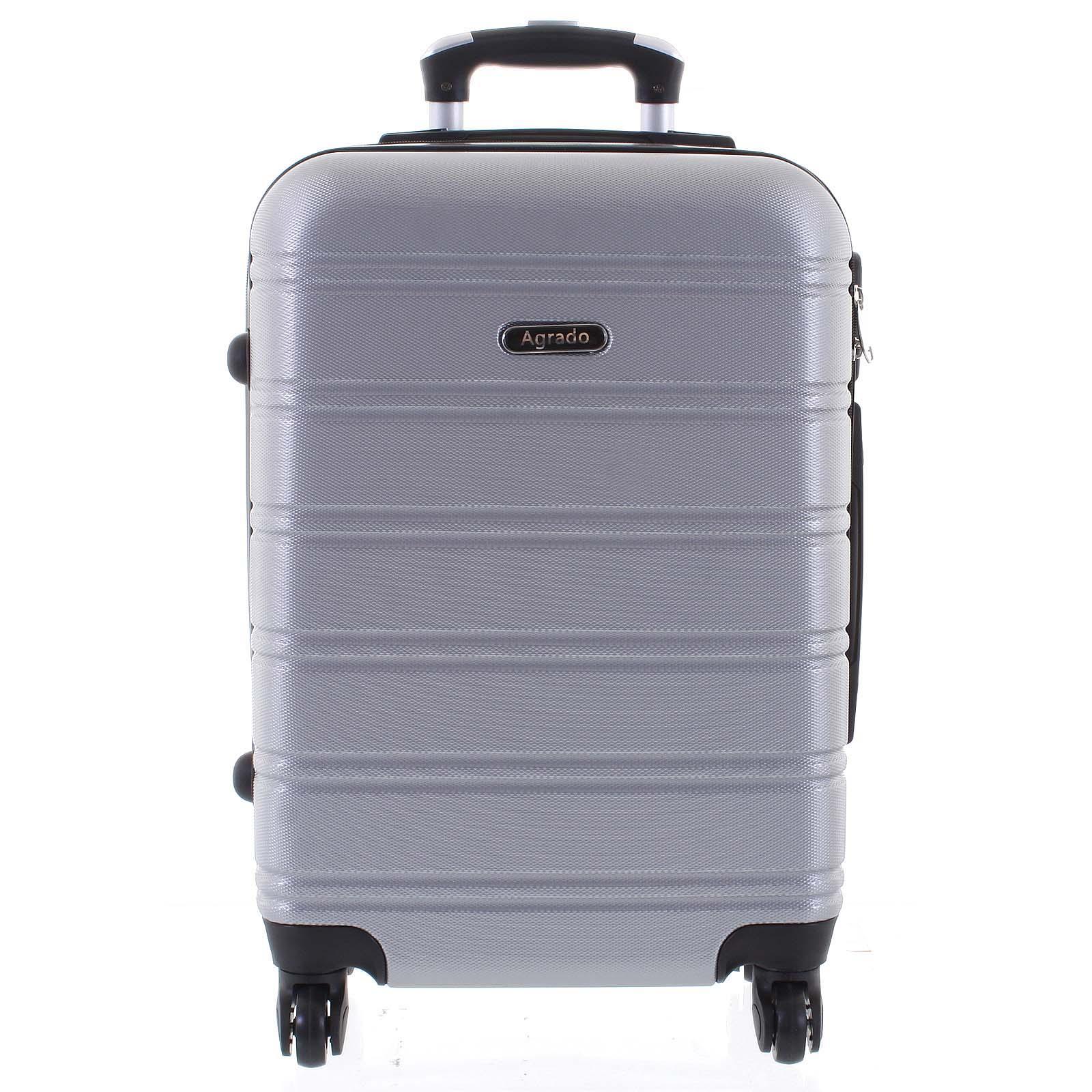 Kvalitný elegantný a pevný strieborný cestovný kufor - Agrado Michael M