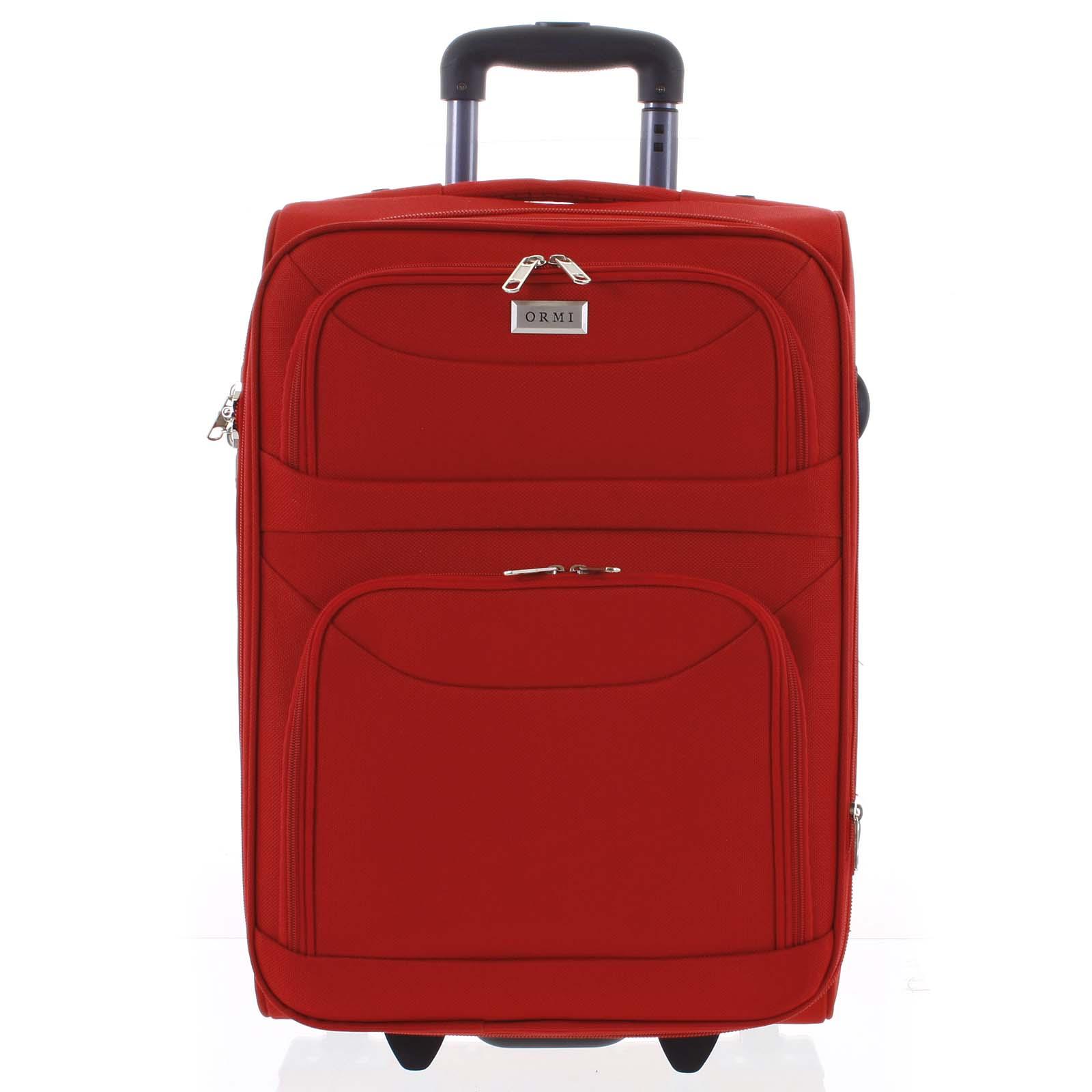 Klasický látkový červený cestovný kufor - Ormi Stof M