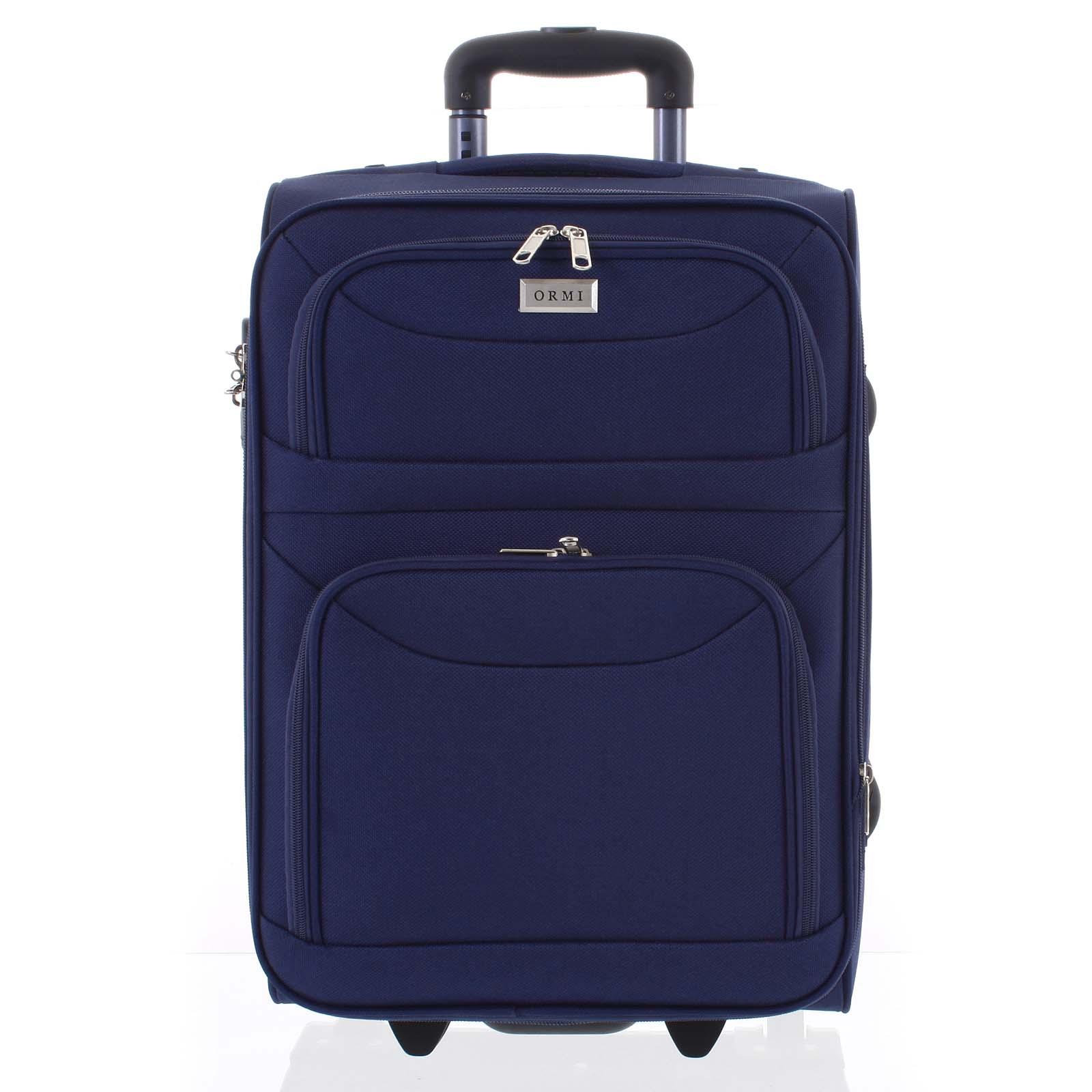 Klasický látkový modrý cestovný kufor - Ormi Stof S
